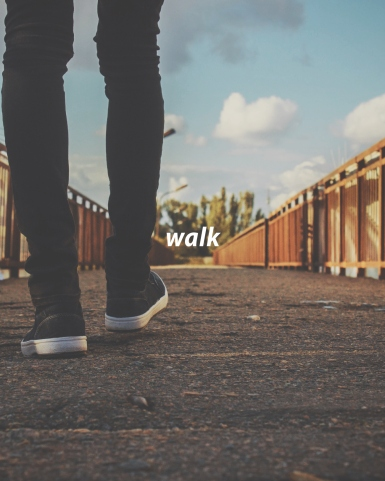 Hopefully there's decent walking weather where you are. With each paced step, inhale and exhale in sync. Feel the ground support you, and feel the rhythmic, repetitive movement of your feet. Bring to the surface of your mind where these feet have been the past hours, and imagine where they're headed. Breathe in and exhale with a gentle smile with gratitude for the journey you're on this moment.
